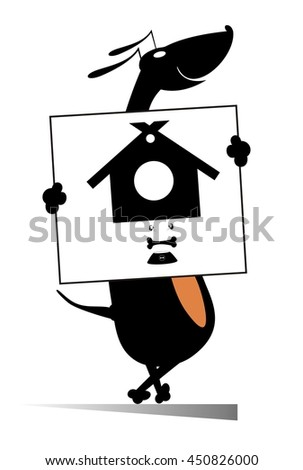 Every dog needs home and food. Smiling dog holding a banner with kennel and dog bowl in   - stock photo
