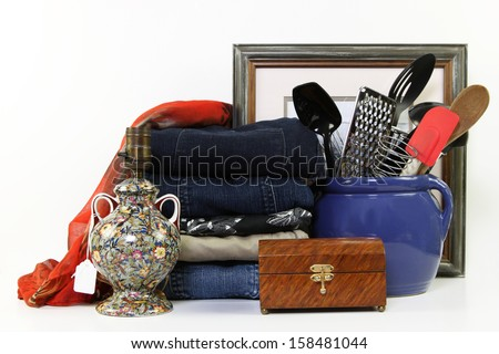 Everyday items for sale at a consignment store - stock photo