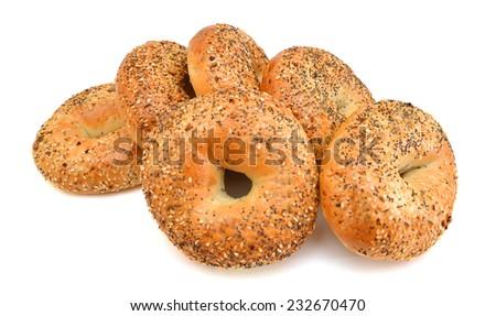 Everything Bagels Isolated on White background  - stock photo