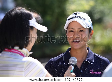 EVIAN GOLF COURSE, FRANCE - JULY 26 : Ai Miyazato (JPN) at The Evian Masters golf tournament (LPGA Tour), July 26, 2012 at The Evian golf course, Evian,  France.