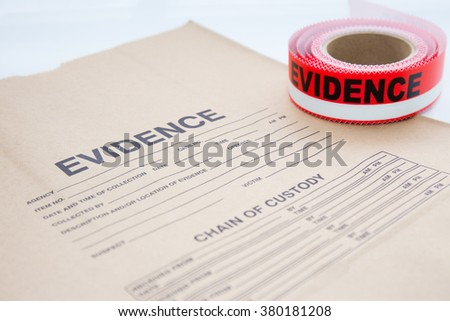 evidence bag with red evidence sealing tape  for crime scene investigation - stock photo