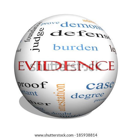 Evidence 3D sphere Word Cloud Concept with great terms such as proof, burden, material and more.