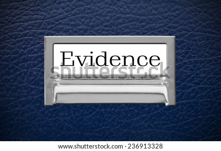 Evidence File Drawer on leather background - stock photo