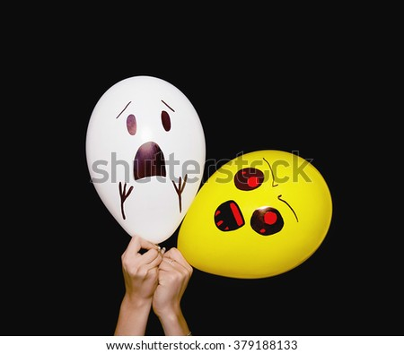 Evil and scared balloon characters