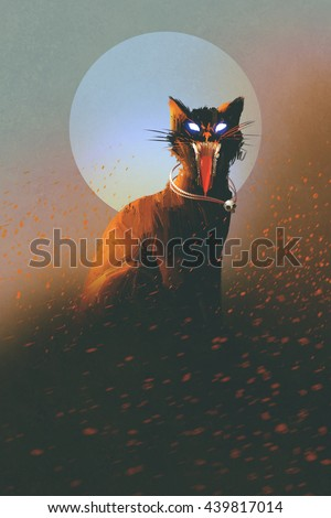 evil cat on a background of the moon,undead,horror concept,illustration - stock photo