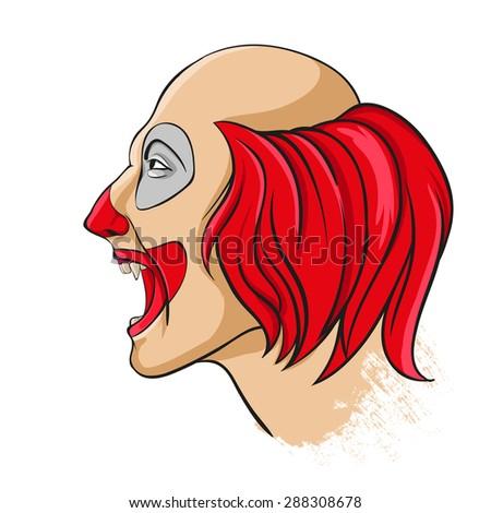 Evil clown portrait - stock photo