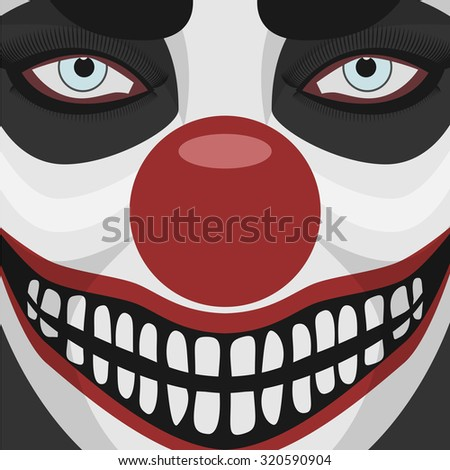 Evil Clown smiling Face with red Nose. Spooky Character Halloween Illustration  - stock photo