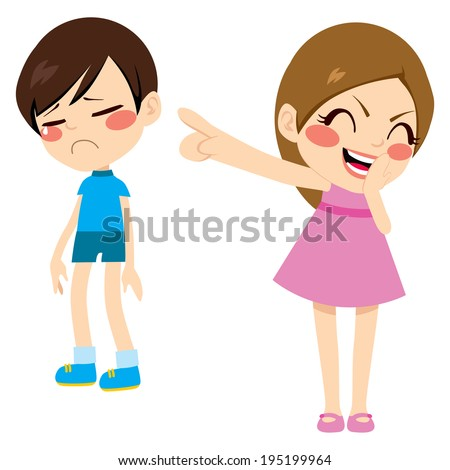 Evil little girl bullying poor sad boy kid pointing finger laughing and mocking - stock photo