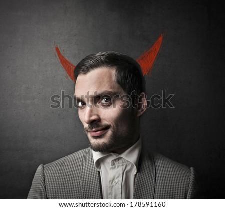 evil man - stock photo