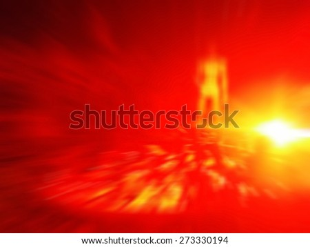 evil model in hell , apocalyptic flaming doom bringer of hell . Defocused and blurred image for background - stock photo