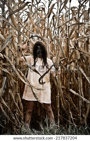 Evil Witch in a Corn Field holding a Sickle  - stock photo