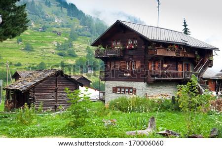 evolene,Old houses in Switzerland - stock photo