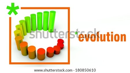 Evolution business concept, rising graph chart - stock photo