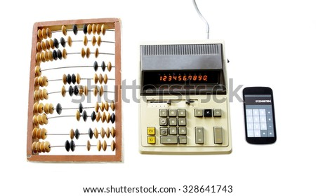 evolution of calculation abacus vintage calculator and modern gadget isolated on white background