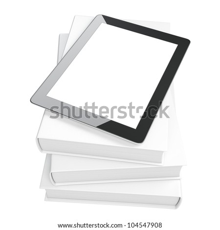 evolution of media. touchpad on the books isolated on white background (white version of the books) - stock photo
