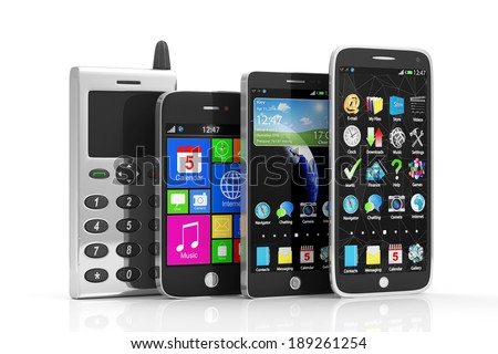 Evolution of Mobile Phones. Group of Smartphones isolated on white background
