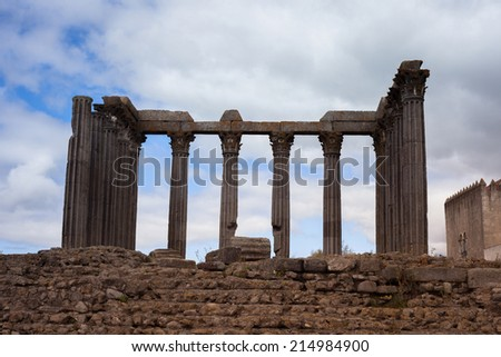 Evora is a city and in Portugal. The ancient temple - stock photo