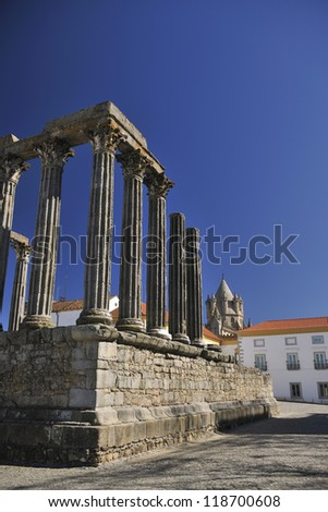 EVORA, PORTUGAL - MARCH 2012, Roman temple also known as Templo de Diana - stock photo