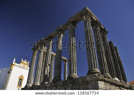 EVORA, PORTUGAL - MARCH 2012, Roman temple also known as Templo de Diana. The temple was included in the classification by UNESCO as a World Heritage Site. - stock photo