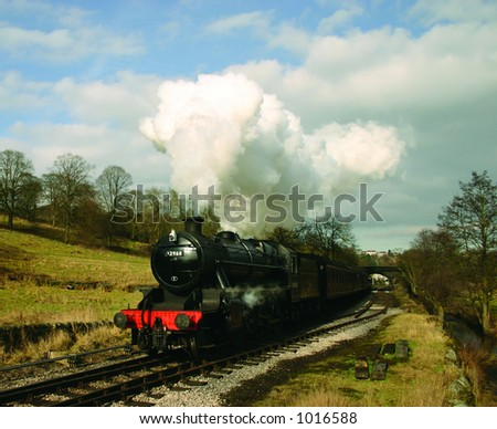 ex London Midland and Scottish Railway locomotive 42968 with a passenger train at Haworth, West Yorkshire