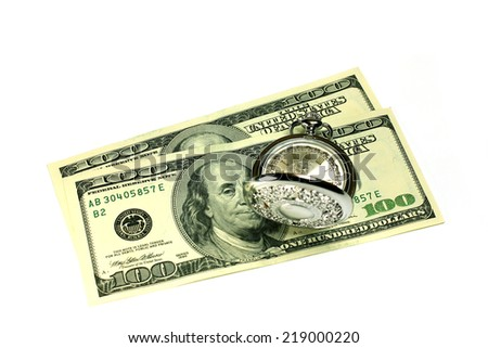 exact watch and bill dollar as symbol financial trade