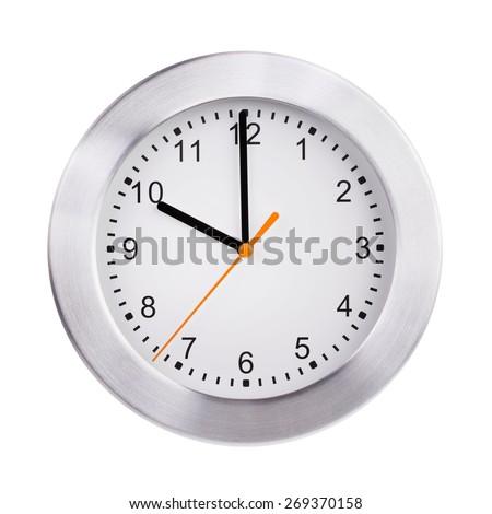 Exactly ten o'clock on a round dial - stock photo