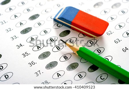 Exam test score sheet with answers. School and education concept