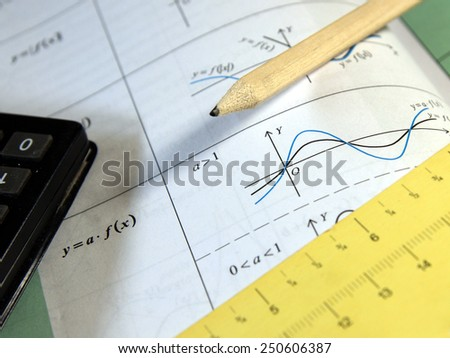 Exam, test study of mathematics (book, pencil, measure, calculator) - Background shows trigonometry formulas ans sinus graph