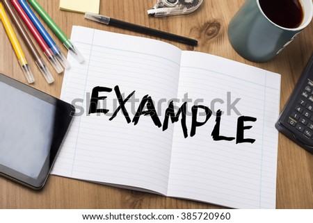 EXAMPLE - Note Pad With Text On Wooden Table - with office  tools