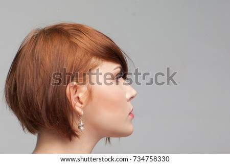 example female hairstyle beauty portrait modern stock photo royalty