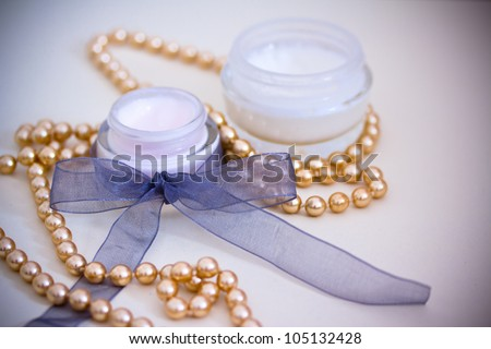 example of luxury spa beauty products, added vignette - stock photo
