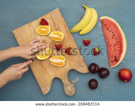 Example of sliced fruits on the table , meaning healthy diet - stock photo