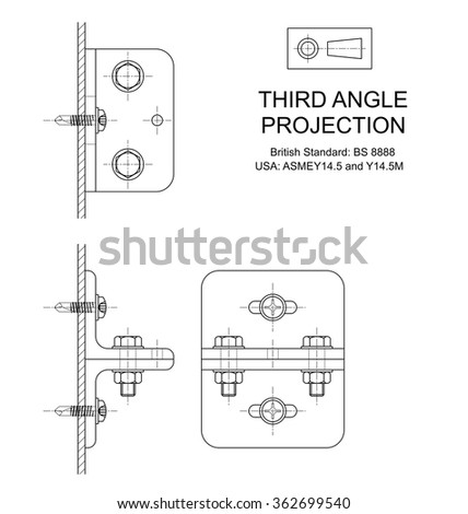 Example of third angle orthographic projection drawing using rolled steel angle assembly  - stock photo
