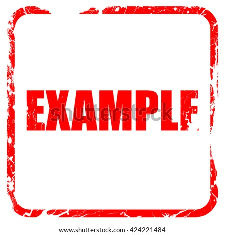 example sign background, red rubber stamp with grunge edges - stock photo