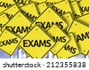 Exams written on multiple road sign  - stock photo