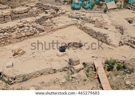 Excavation at archaeological site in Athens, Greece. Ruins of an ancient structure.