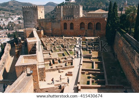 Excavation site in the older part of the medieval fortification of Alhambra, Granada (Spain). - stock photo