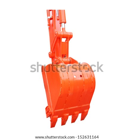 excavator bucket on white background - stock photo
