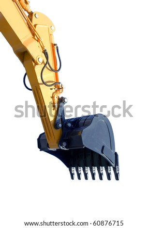 excavator bucket on white background ( isolated with  paths) - stock photo