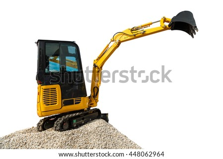 Excavator bulldozer and rocks isolated on white background with clipping path - stock photo