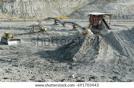 Excavator in a chalk rock quarry. mining industry