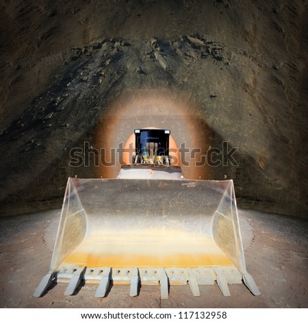 Excavator in digging hole. Environmental concept. - stock photo
