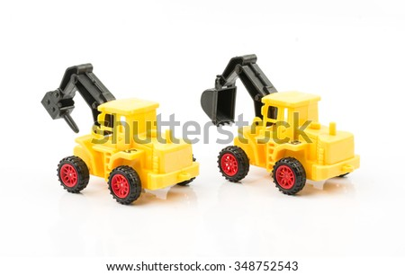 Excavator isolated on white background,toy