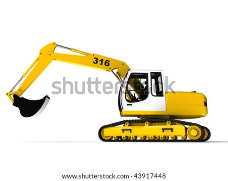 Excavator isolated on white, side view - stock photo