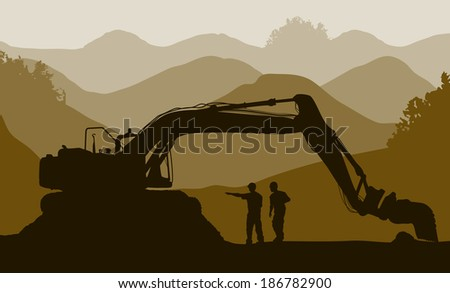 Excavator loader and workers at mine. Raster version  - stock photo