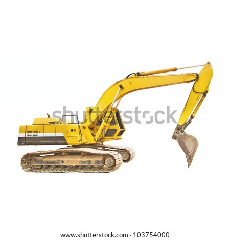 excavator loader machine white background - stock photo