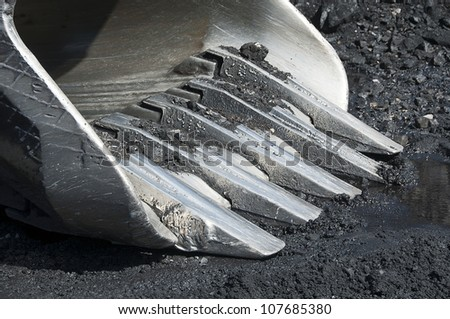 Excavator, production useful minerals, - stock photo