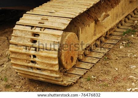 excavator tracks - stock photo