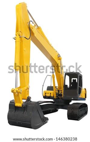 excavator under the white background - stock photo