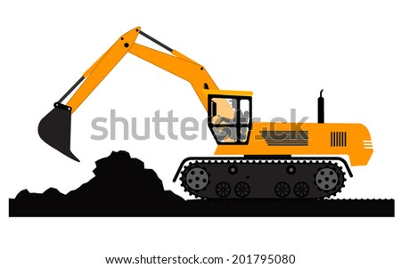 Excavator working on a white background - stock photo
